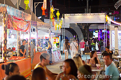 Streets of Patong at night, Thailand Editorial Photo