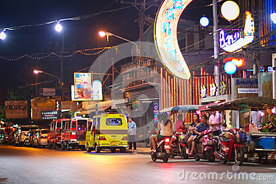Streets of Patong at night in Thailand Editorial Photo