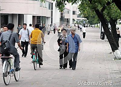 Streetscape 2013 de Pyongyang Imagem de Stock Editorial