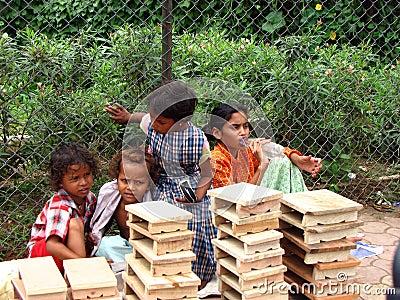 Streetside Indian Kids Editorial Stock Photo