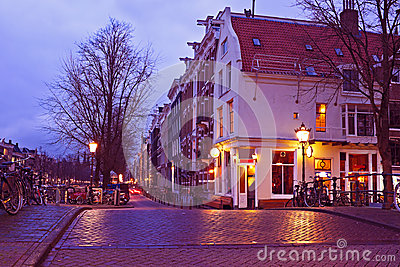 Streetview with amsterdam cafe in the Netherlands Editorial Photo