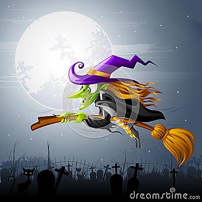 Strega di Halloween di volo