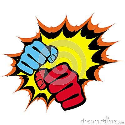 Strength fists, martial arts emblem. Vector.