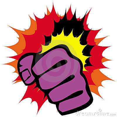Strength fists, martial arts emblem. Vector.