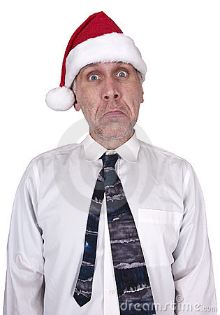 Stress, Sad Businessman Christmas Santa Hat