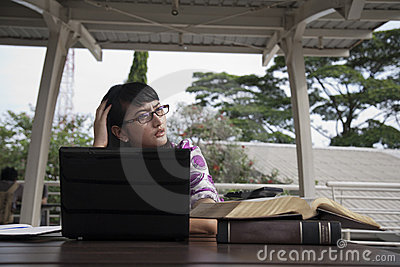 Stressed asian student