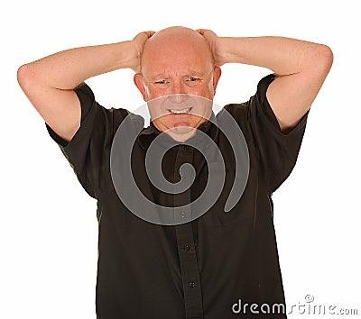 Stressed bald man