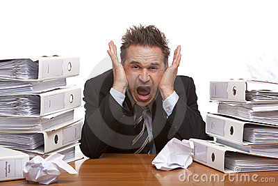 Stressed Business Man Screams Frustrated In Office Royalty Free Stock Images - Image: 11823529