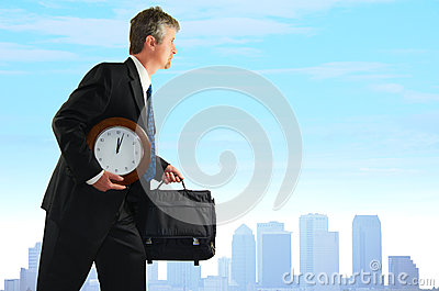 Stressed business man searching for more time