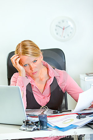 Stressed business woman at work
