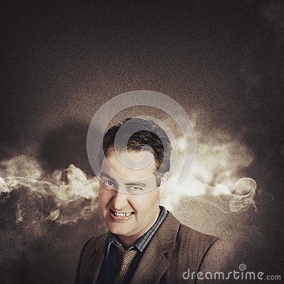 Stressed businessman with steaming hot headache