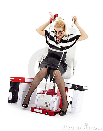 Stressed businesswoman in chair over white #2