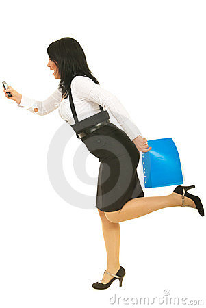 Stressed businesswoman in hurry