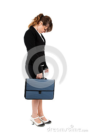 Stressed businesswoman on white