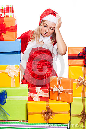 Stressed Christmas woman with presents