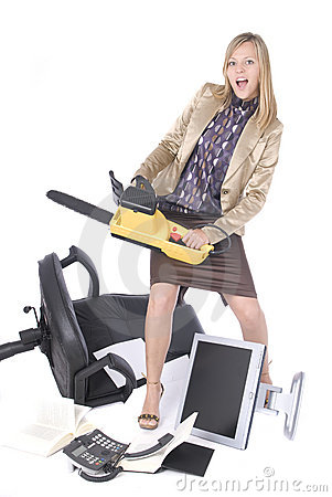 Stressed executive business woman breaking office