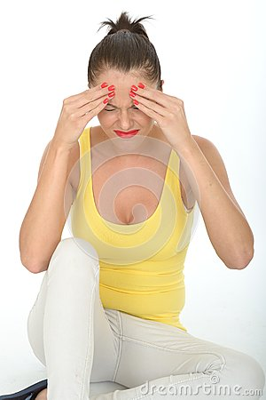 Free Stressed Frustrated Fed Up Young Woman With Painful Headache Stock Photo - 53027400
