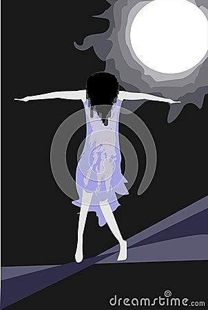 Stressed girl under moonlight