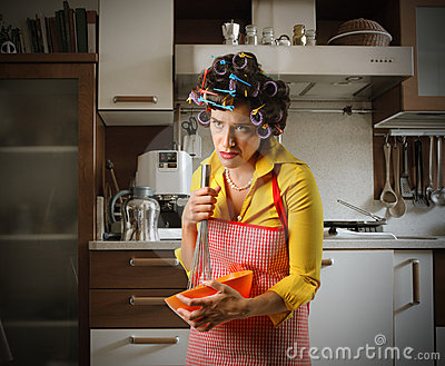 Stressed housewife