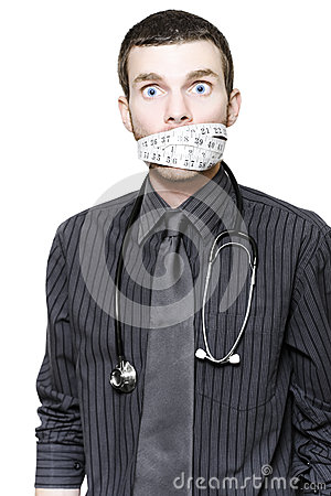 Stressed Male Doctor With Tape Measure On White