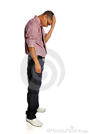 Stressed Man With hand on Head