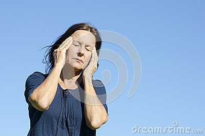 Stressed mature woman menopause