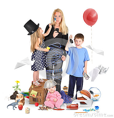 Stressed Mother with Wild Children on White