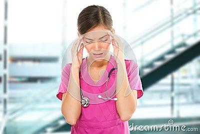 Stressed nurse medical professional with headache