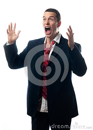 Stressed out businessman screaming isolated on white