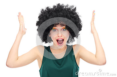 Stressed out woman wearing afro wig