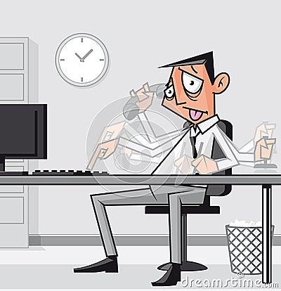 Stressed overworked businessman