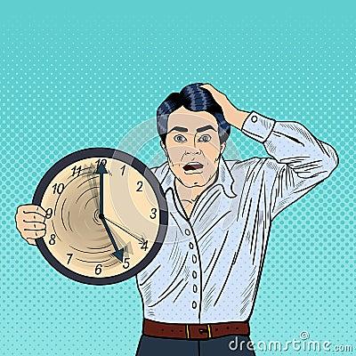 Free Stressed Pop Art Business Man Holding Big Clock On Work Deadline Royalty Free Stock Photography - 77482797