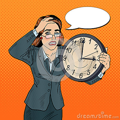 Free Stressed Pop Art Business Woman With Big Clock On Deadline Work Stock Photography - 77482822