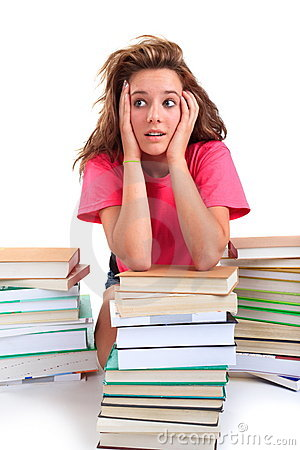 Stressed teenager with books