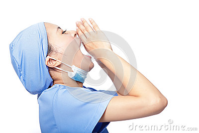 Stressed woman doctor screaming