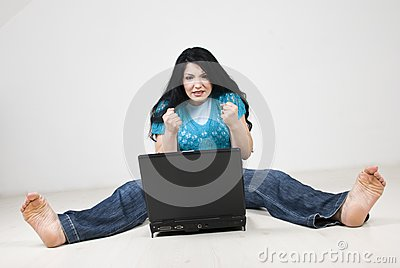 Stressed  woman using laptop