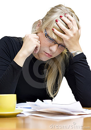 Free Stressed Woman With Bills Stock Photo - 18338380