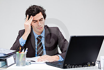 Stressed young businessman