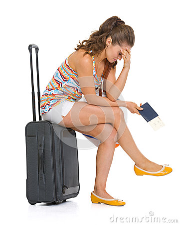Free Stressed Young Tourist Woman Sitting On Wheel Bag Stock Photo - 30028180