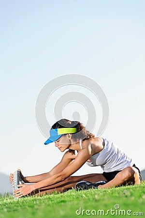 Stretching athlete