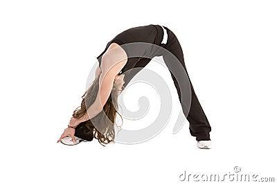Stretching black leg
