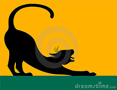 Stretching Cat Silhouette/eps