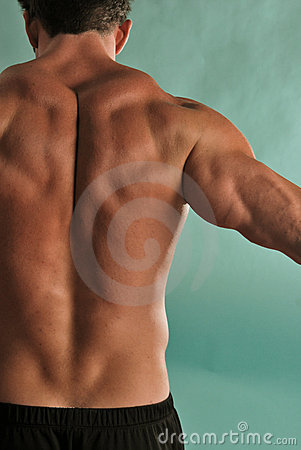 Stretching male muscle back