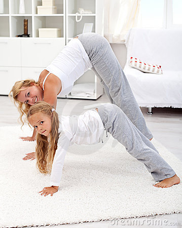 Stretching with mom in the morning