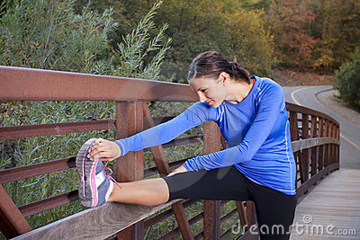 Stretching before a morning Jog