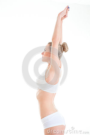Free Stretching Slim And Sporty Woman In Lingerie Isolated On White B Stock Photography - 94953752