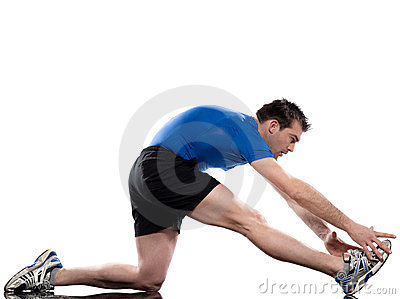 Stretching workout posture by a man