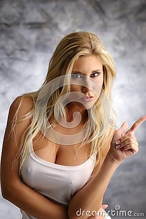 Strict blond girl