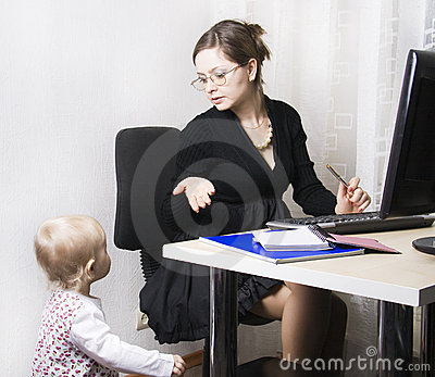 Strict busy mother and child