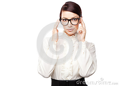 Strict woman in large glasses